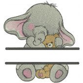 Baby elephant with toy monogram embroidery design