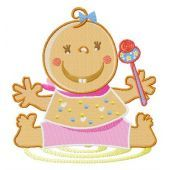 Baby girl with toy rattle embroidery design
