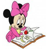 Minnie Mouse reading machine embroidery design