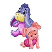 Baby Eeyore and Piglet embroidery design