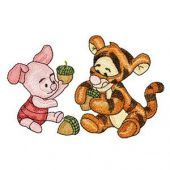 Baby Tiger and Baby Piglet embroidery design