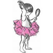 Ballerina looks in the mirror embroidery design