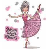Ballet believe in your dreams embroidery design