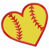 Baseball heart embroidery design 2