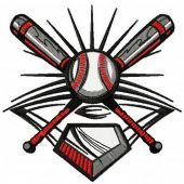 Baseball life machine embroidery design