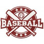 Baseball style machine embroidery design