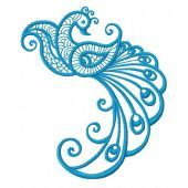 Blue swirl firebird embroidery design