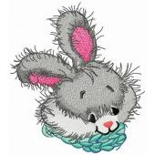 Blue scarf for bunny embroidery design