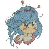 Bluehaired girl with bee horns