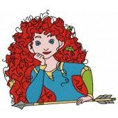 Brave Princess Merida with arrow embroidery design