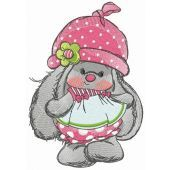 Bunny Mi with polka dot pants and hat embroidery design