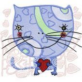 Loving Cat embroidery design