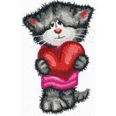 Cat with heart machine embroidery design