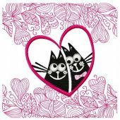 Cat's love embroidery design