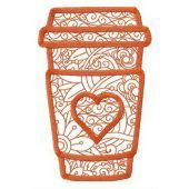 Coffee to go cup embroidery design