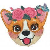 Corgi muzzle with flower wreath embroidery design