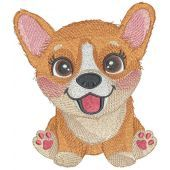 Corgi puppy embroidery design