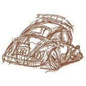 Crashed car embroidery design