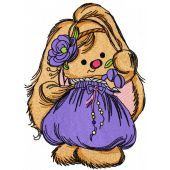Cute bunny girl machine embroidery design 5