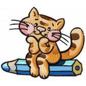 Dreamy kitten machine embroidery design