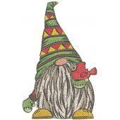 Dwarf with bird embroidery design