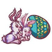 Easter bunnies machine embroidery design 2