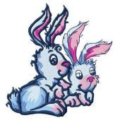 Easter bunnies machine embroidery design 3