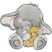 Elephant with teddy bear embroidery design
