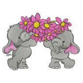 Elephants with bouquet for you embroidery design