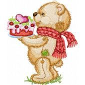 Teddy Bear with Cake embroidery design