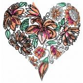 Floral heart embroidery design 4