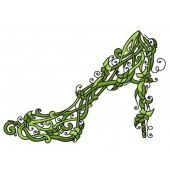 Floral high heel shoe machine embroidery design