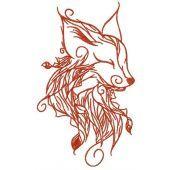 Forest fox spirit embroidery design 3