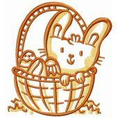 Funny Easter bunny in basket embroidery design
