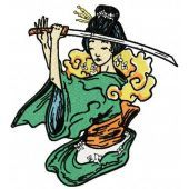Geisha with sword machine embroidery design