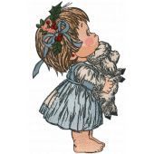Girl waiting for Christmas embroidery design