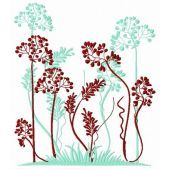 Grass and flowers embroidery design