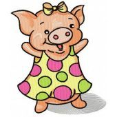 Happy piglet machine embroidery design
