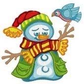 Happy snowman machine embroidery design