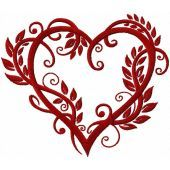 Heart wrapped up by leaves machine embroidery design