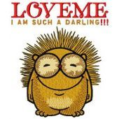 Hedgehog Love me I'm such a darling machine embroidery design