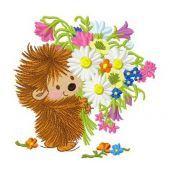 Hedgehog's bouquet machine embroidery design