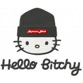 Hello Kitty Hello Bitchy embroidery design