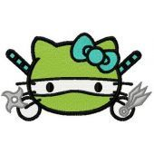 Hello Kitty ninja turtle embroidery design