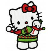 Hello Kitty with snowman toy embroidery design