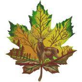 Horned deer on maple leaf