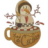 Hot Cocoa with snowball embroidery design