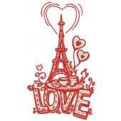 I love you Paris machine embroidery design