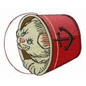 Kitten in bucket embroidery design