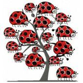 Ladybug tree machine embroidery design
